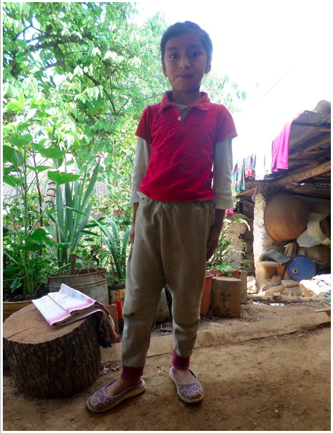 """Die Geschichte von Juana Catarina Quiej Xiloj  Catarina ist ein 9-jähriges Mädchen, sie besucht die 3. Klasse der Schule """"centroamericano"""" in Momostenango. Sie lebt mit ihrer Mama, ihren Onkeln und Tanten und ihrer Großmutter etwa 3 km vom Zentrum Momostenangos entfernt.  Catarina Mutter ist alleinerziehend und muss sich neben ihrer einzigen Tochter auch um ihre 75-jährige Mutter sorgen.  Wenn Catarinas Mutter beim Arbeiten ist kümmert sich ihre Großmutter um sie.  Den Lebensunterhalt verdient ihre Mutter durch Hausarbeiten, welche sie täglich von 7 bis 18 Uhr anbietet. Dafür bekommt sie täglich ungefähr 16 Quetzales (knapp 2€). Das Haus in dem sie leben gehört einem Bruder, der es ihnen überlassen hat.  Für Wasser und Strom müssen sie monatlich ungefähr 100 Quetzales (11,50€) bezahlen. Catarina hilft ihrer Großmutter auf ihre kleinen Cousinen aufzupassen und Hausarbeiten zu erledigen.  Vielen herzlichen Dank für Deine/Eure Unterstützung.  Yannic Wexenberger Yalla Yalla Kultur hilft! e.V."""